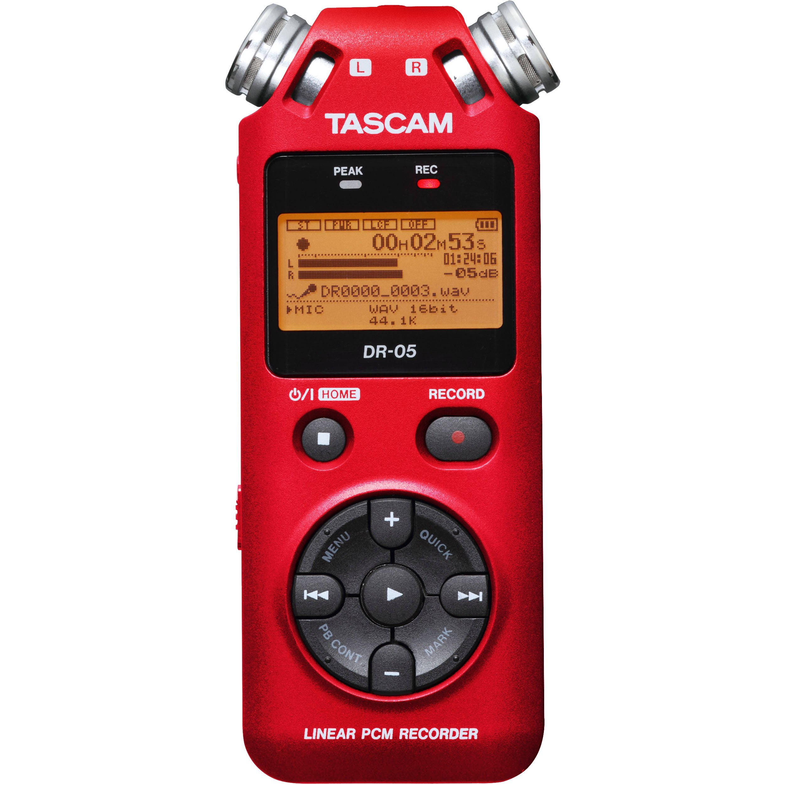 Tascam DR-05 Portable Handheld Digital Audio Recorder (Red) with Deluxe accessory bundle by Tascam (Image #2)