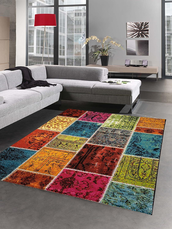Carpetia Designer Teppich Patchwork Vintage Wohnzimmerteppich Multicolor bunt Größe 200 x 290 cm