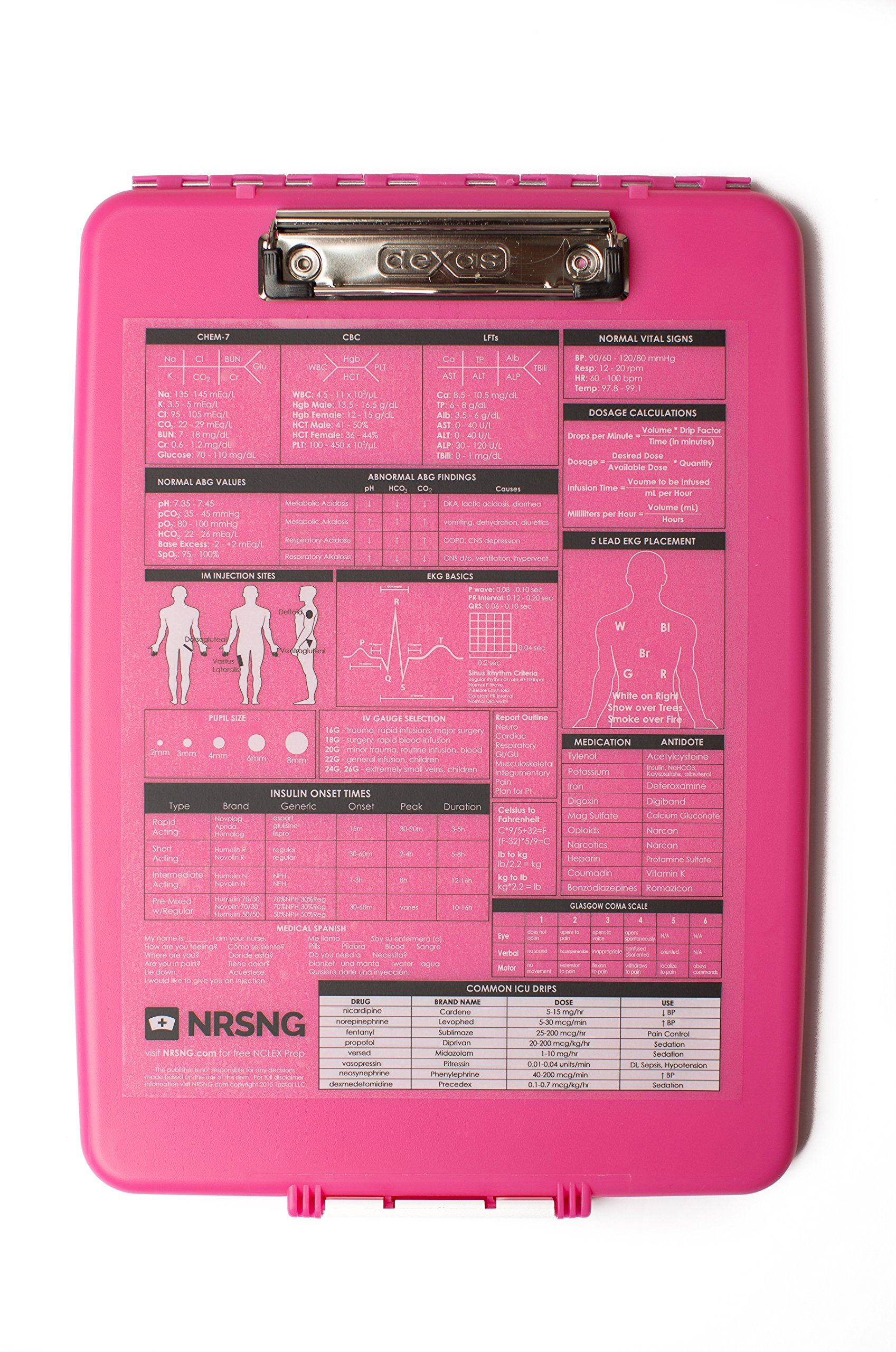 Pink Nursing Clipboard with Storage and Quick Medical Reference Guide Created by NRSNG for Student Nurses and Nurses (Pink)