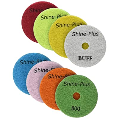 Toolocity DPP4SETW 4-Inch Shine-Plus Honeycomb Dry Diamond Polishing Pad with White Buff, Set of 8: Home Improvement