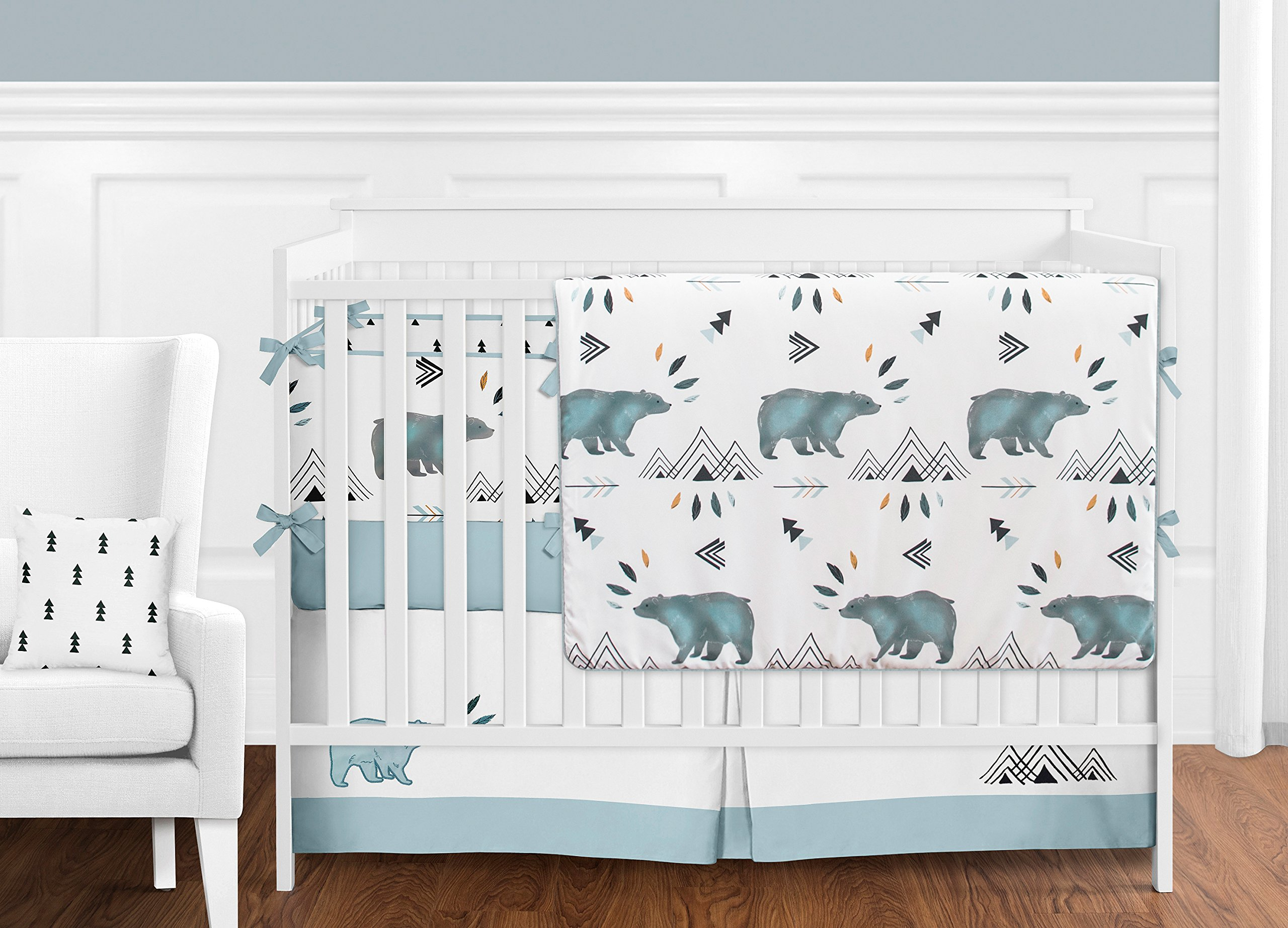 Sweet Jojo Designs 9-Piece Bear Mountain Watercolor Baby Boy Crib Bedding Set with Bumper s