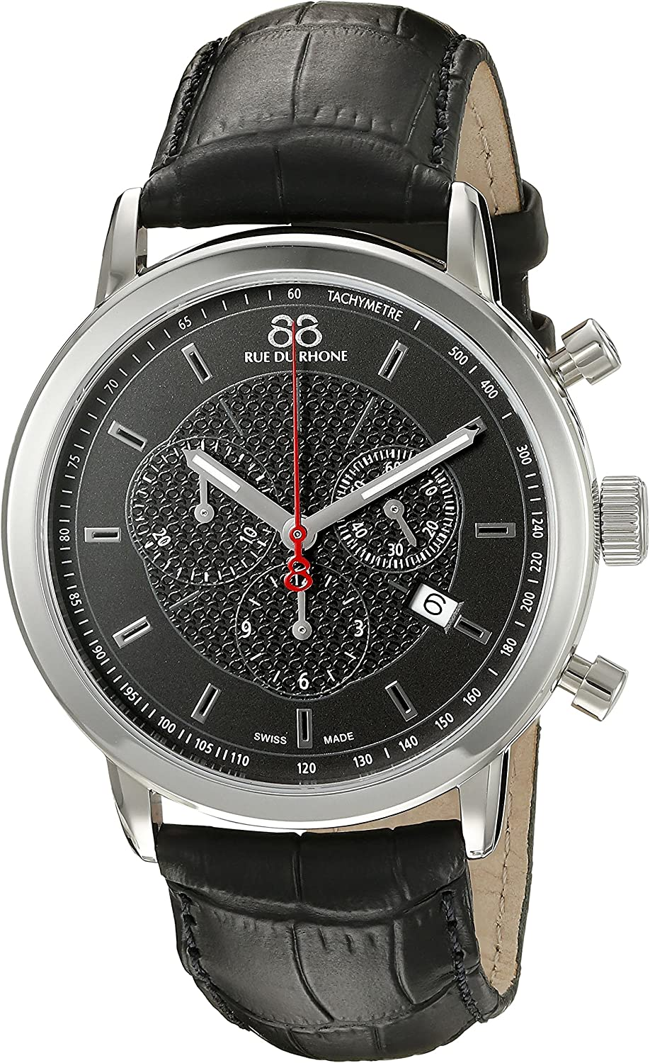 88 Rue du Rhone Men's 87WA120048 Stainless Steel Watch with Black Leather Strap