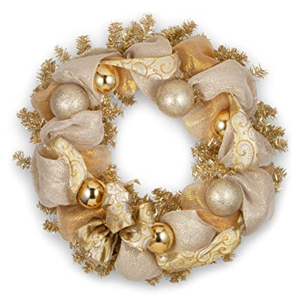 national tree 27 inch christmas wreath with ornaments and gold lace rac zf01430a