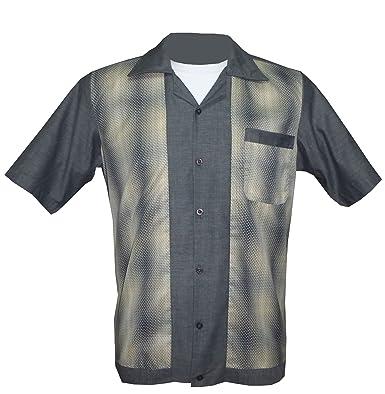 1950s 1960s Rockabilly Retro Vintage Men S Shirt Grey Tan At