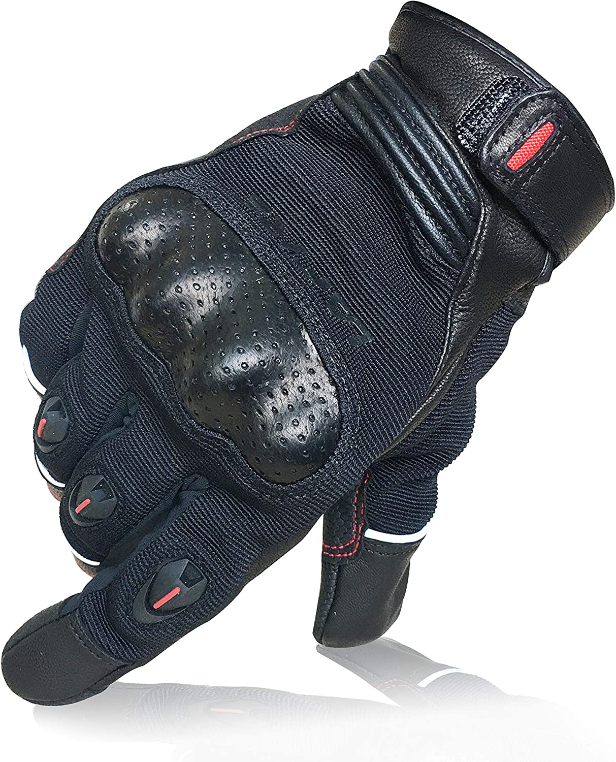 2020 Full Finger Touch Screen Breathable Reflective Motorbike Gloves with Hard Knuckle Protection Black, S Summer Motorcycle Goat Leather Gloves