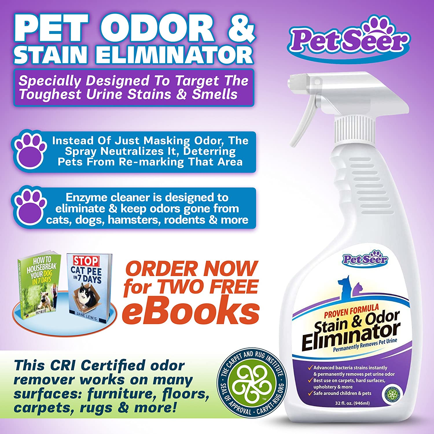 ... Odor And Stain Remover/Eliminator   Neutralizes Strong Odors U0026 Cleans  Tough Stains   Designed To Deter Pets From Re Marking Area   Works On House  Cat, ...