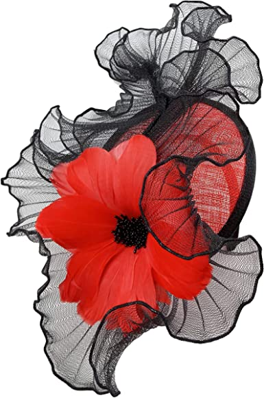 Red Hat Fascinator Multi layered flower topped with feathers and rhinestones
