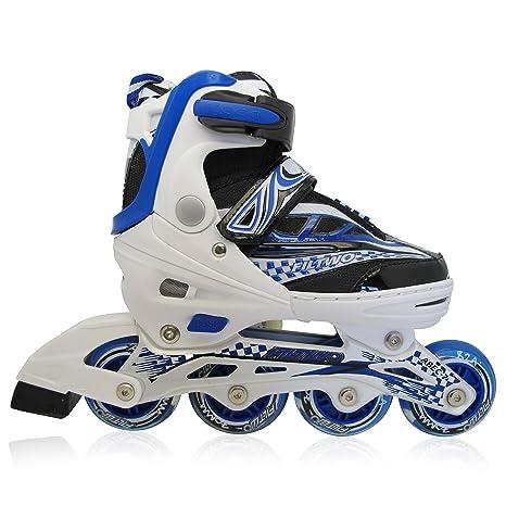 f99d2f4b80e Kinderinliner Inline-skates mit Leuchtenden Rollen - Größen-verstellbar  über vier Schuhgrößen - Blau