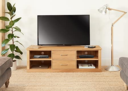 image unavailable image not available for colour baumhaus mobel oak mounted widescreen television cabinet