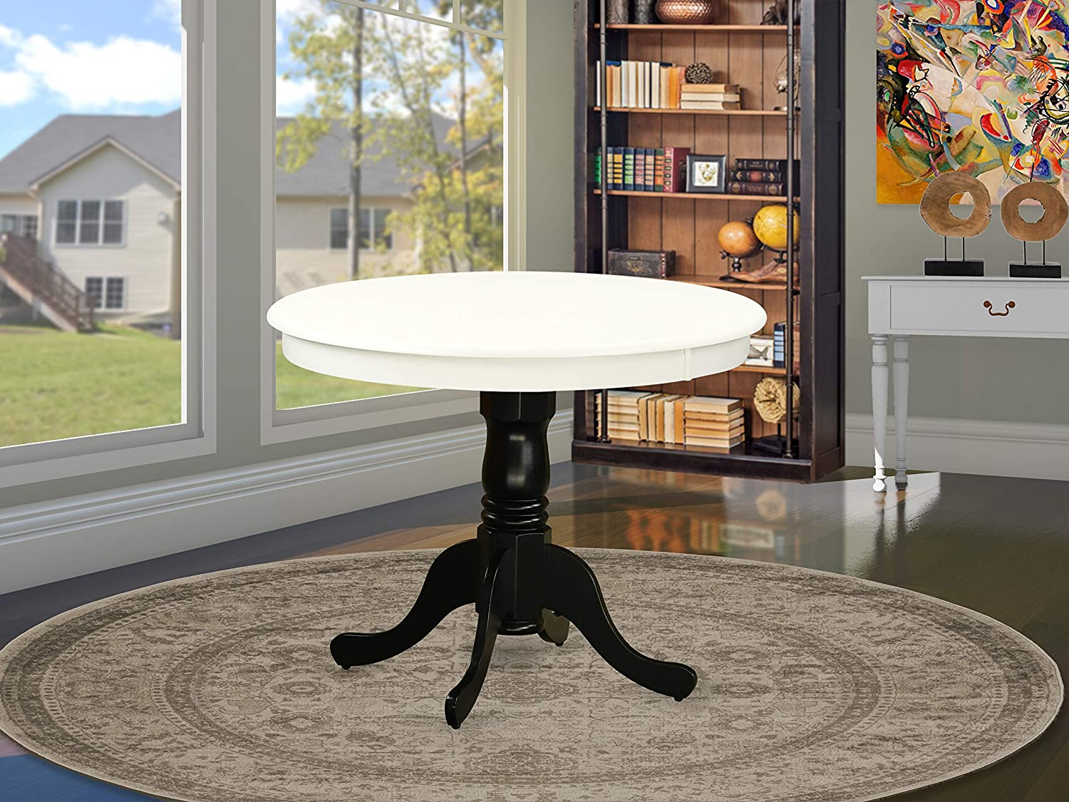 "East West Furniture Antique Dining Table, 36"" Round, Linen White and Black Finish"