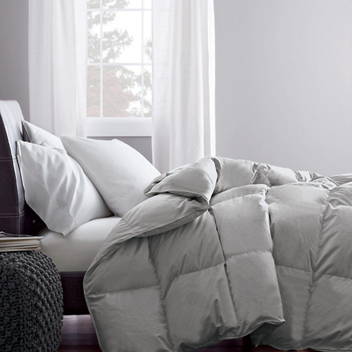 Alberta™ Oversized Baffled European Down Comforter | Size: King, Warmth: Medium, Color: Silver Gray