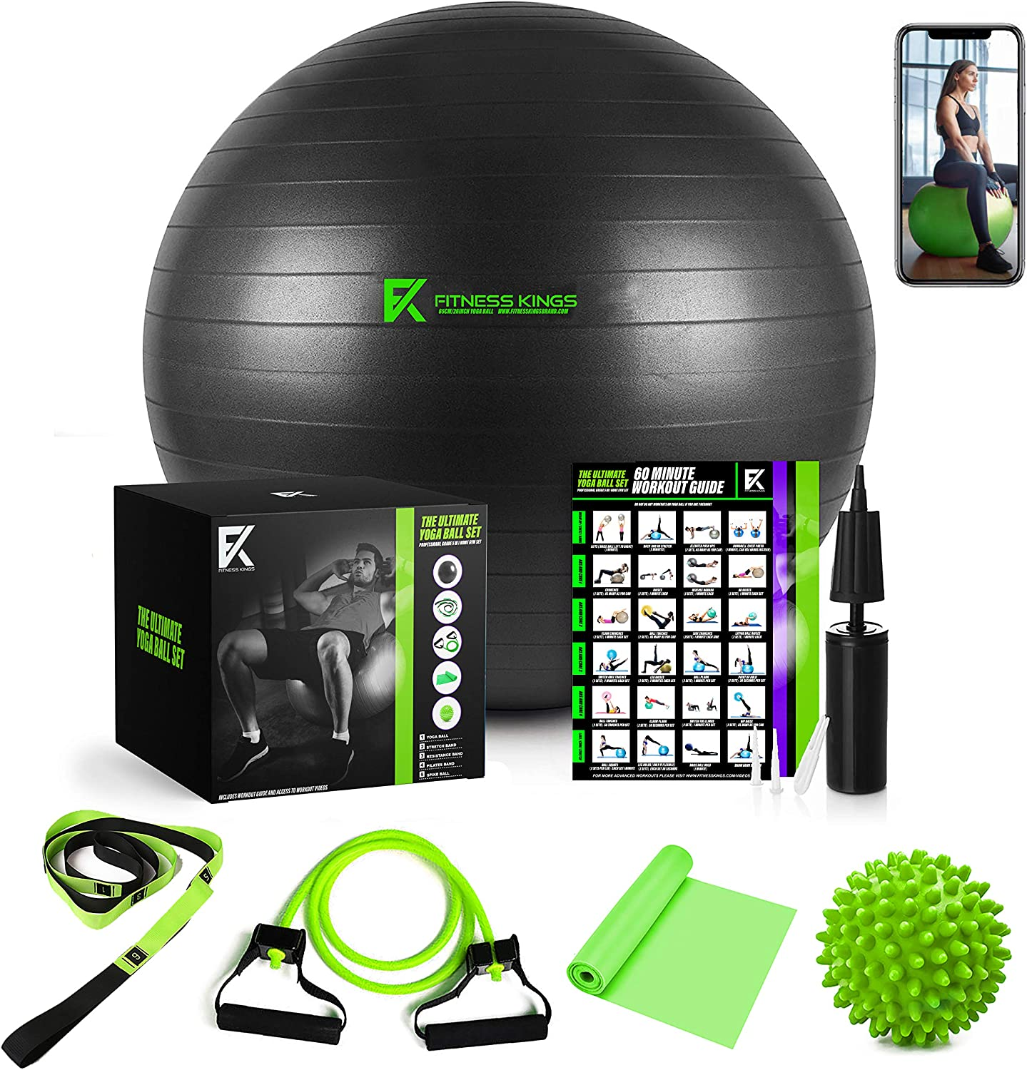The Ultimate Yoga Ball Set – 5 in 1 Fitness Ball Set, Resistance Band, Pilates Band, Stretch Yoga Strap, and Spiky Massage Ball with Fitness Guide and Videos Swiss Ball