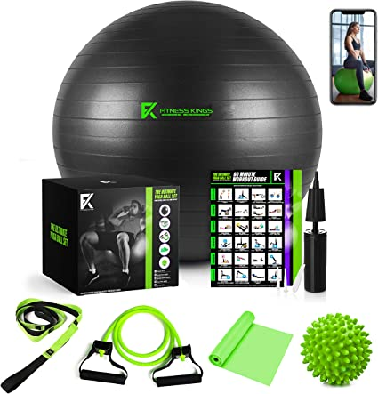 The Ultimate Yoga Ball Set - 5 in 1 Fitness Ball Set, Resistance Band, Pilates Band, Stretch Yoga Strap, and Spiky Massage Ball with Fitness Guide and ...