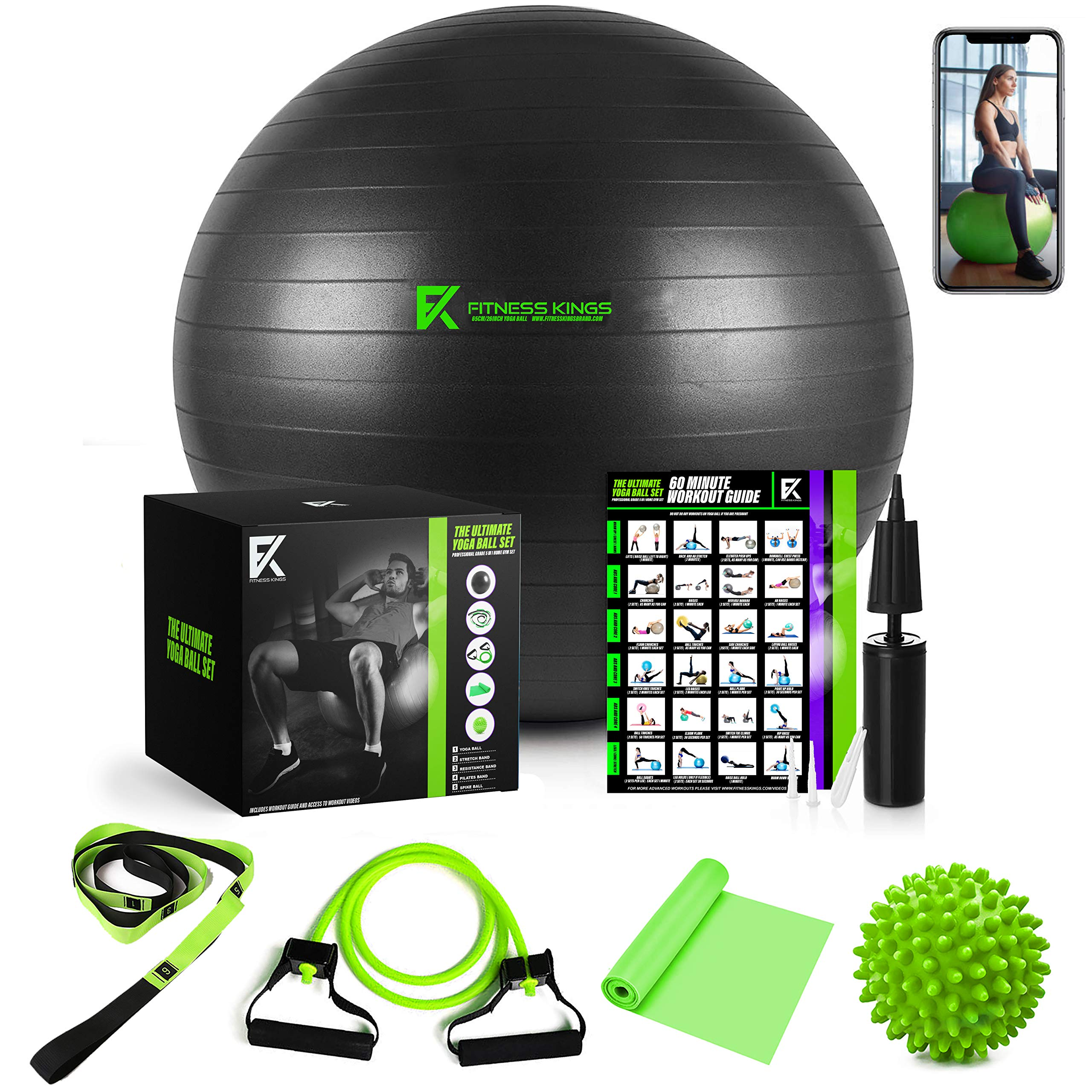 The Ultimate Yoga Ball Set - 5 in 1 Fitness Ball Set, Resistance Band, Pilates Band, Stretch Yoga Strap, and Spiky Massage Ball with Fitness Guide and Videos Swiss Ball by Fitness Kings Brand