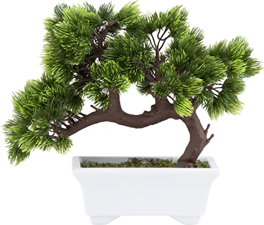 Amazon Com Artificial Bonsai Tree Fake Plant Decoration Potted Artificial House Plants Japanese Pine Bonsai Plant For Decoration Desktop Display Zen Garden Decor 10 3 X 5 X 9 4 Inches Home Kitchen