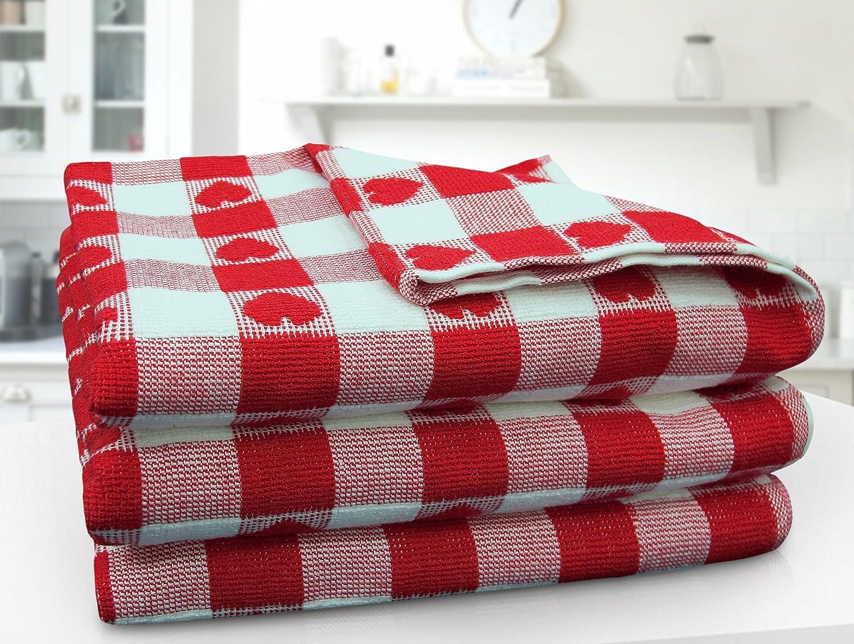 100/% Cotton Terry Check Tea Towel Pack of Three Large Jumbo 50 x 80 cm T Towel