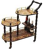 Uniquewise(TM) 3-Tier Serving Tea Cart, Gold Marble Finish