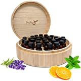 Essential Oil Box - Natural Wood Large Round Design - Holds 5ml, 10ml and 15ml Bottle Sizes and Roller Bottles