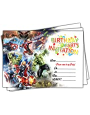 Invitations 20 x Avengers Kids Birthday Party Invites Cards Quality Girls Boys