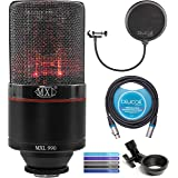 MXL 990 Blaze Condenser Microphone with Red LED Lights Bundle with Blucoil 10-FT Balanced XLR Cable