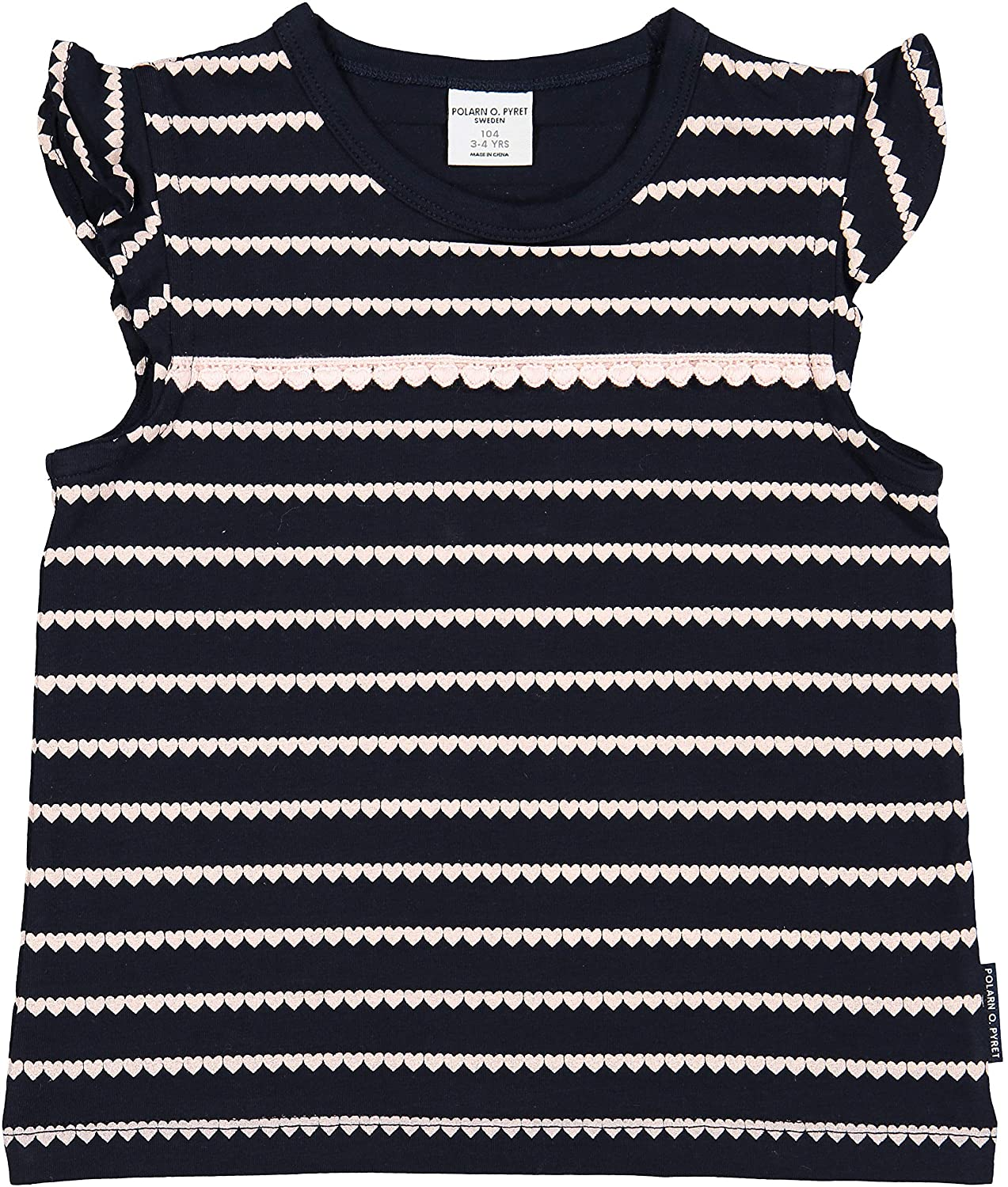 Polarn O. Pyret Baby, Girls, Hearts Stripe Kids Vest Top (6 Months - 6 Years) 60372244