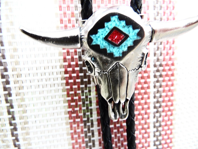 Turquoise Enamel Polished Pewter Longhorn Skull Bolo Tie