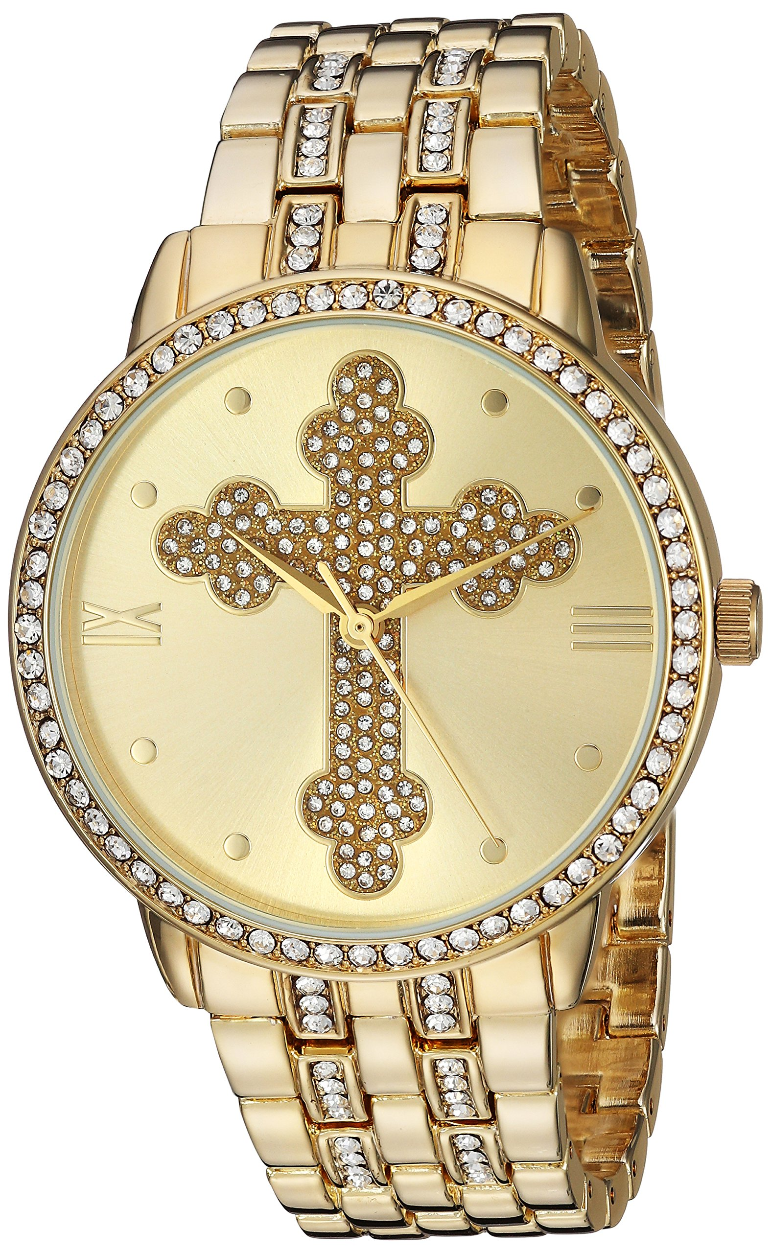 eWatchFactory EW Men's Cross Religious Analog-Quartz Watch with Stainless-Steel Strap, Gold, 10 (Model: PW00208
