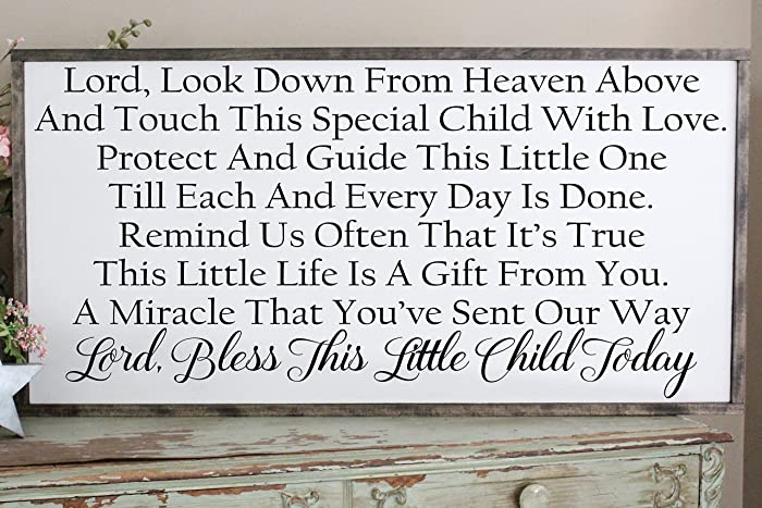 Amazon com: Lord Bless This Child Wall Art/Hand Painted Sign
