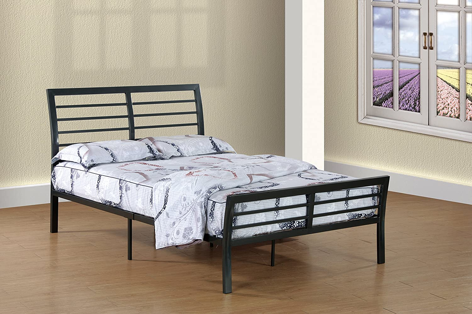 - Amazon.com: Furniture World Wright Contemporary Metal Sleigh Bed