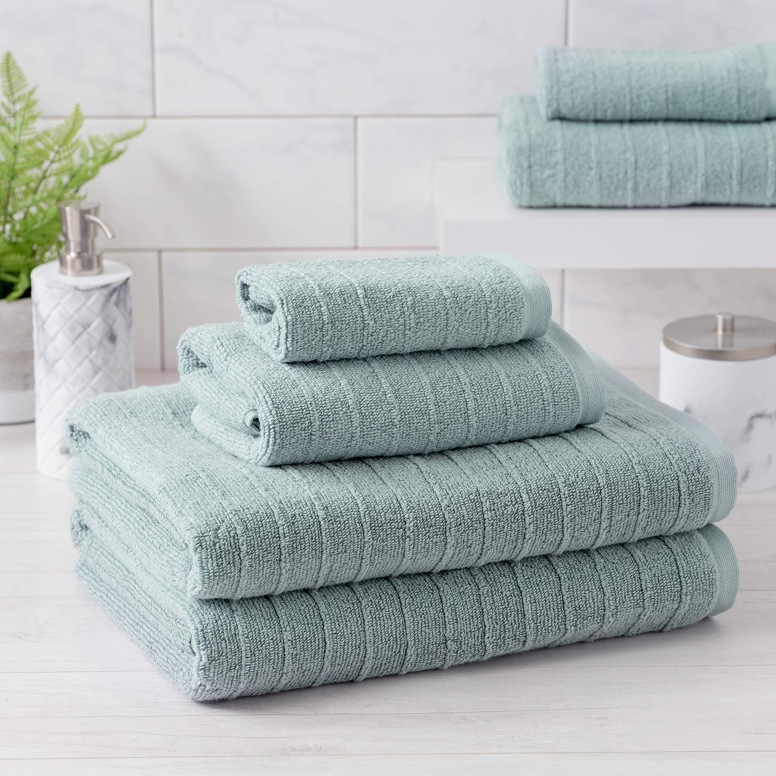Welhome James 100% Cotton Textured Bath Towel Set of 6 (Mineral) - Super Absorbent - Soft & Luxurious Bathroom Towels - Quick Dry - 2 Bath - 2 Hand - 2 Wash Towels