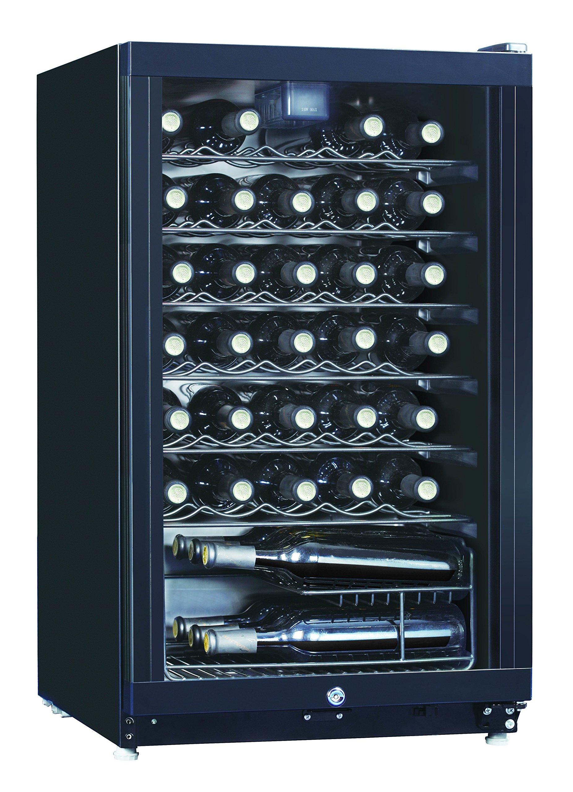 Midea WHS-144W1 35-Bottle Free Standing Wine Cooler Refrigerator, Black