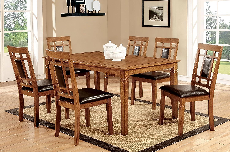 Furniture of America Lazio 7-Piece Transitional Dining Set, Light Oak