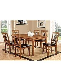 furniture of america lazio 7piece dining set light oak
