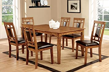 Furniture Of America Lazio 7 Piece Transitional Dining Set Light Oak