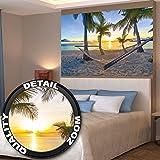 Poster Amaca a Palm Beach al tramonto, poster da parete decorazione sole vacanza ai Caraibi estate spiaggia mare palme | Fotomurales Decorazione da parete Immagine by GREAT ART (140 x 100 cm)