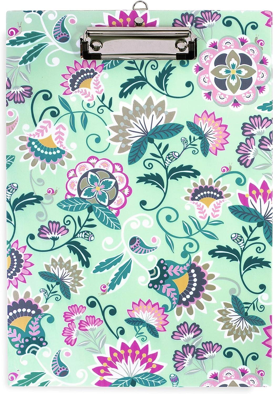 Vera Bradley Green Floral Plastic Clipboard for Letter Size Paper, Mint Flowers