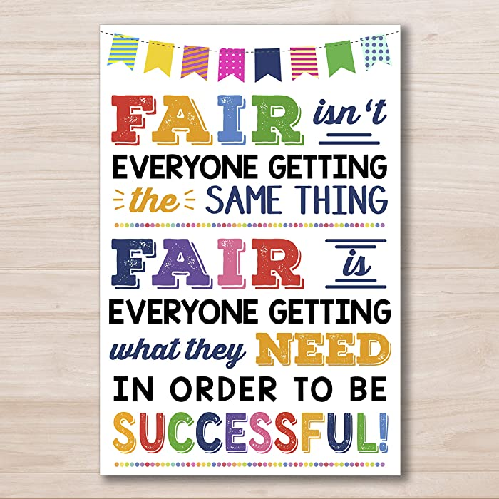 AprilLove Fair Isn't Everyone Getting The Same Thing Poster - School Counselor Office Decor - Classroom Decor - Teacher Classroom Decor - Back to School Poster
