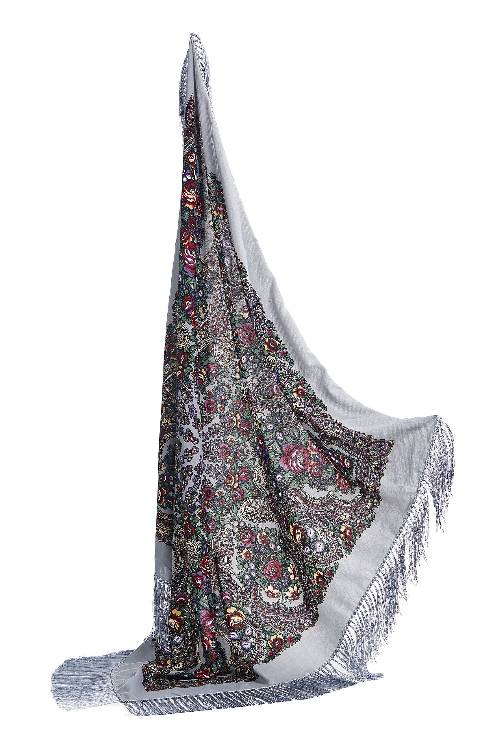 Ladies Floral Shawl With Tassels Ukrainian Polish Russian Style Shawls For Women (Light Grey)