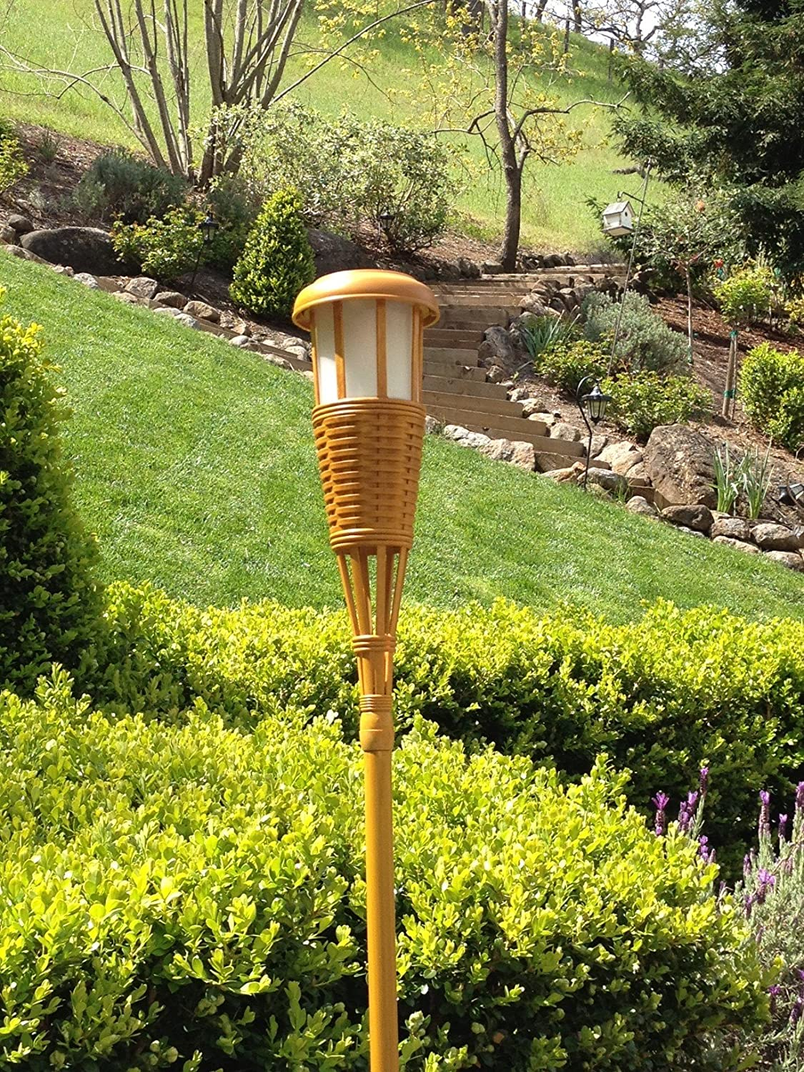 lighting tiki torches. Newhouse Lighting Solar Flickering LED Island Torches, Bamboo Finish, 4-Pack - Landscape Torch Lights Amazon.com Tiki Torches
