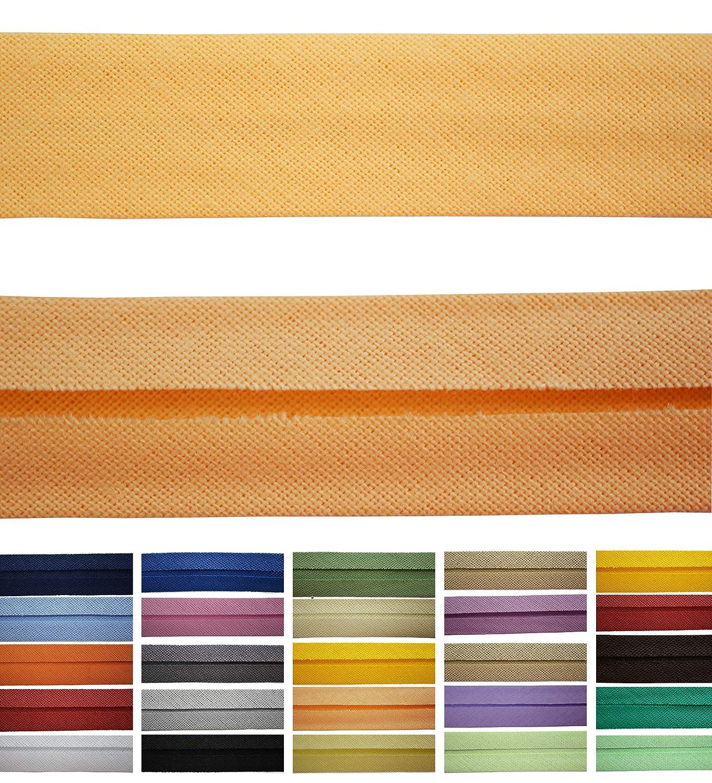 Cinta al bies de algod/ón Disponible en 24 Colores 9 mm de Ancho Roban Fashion