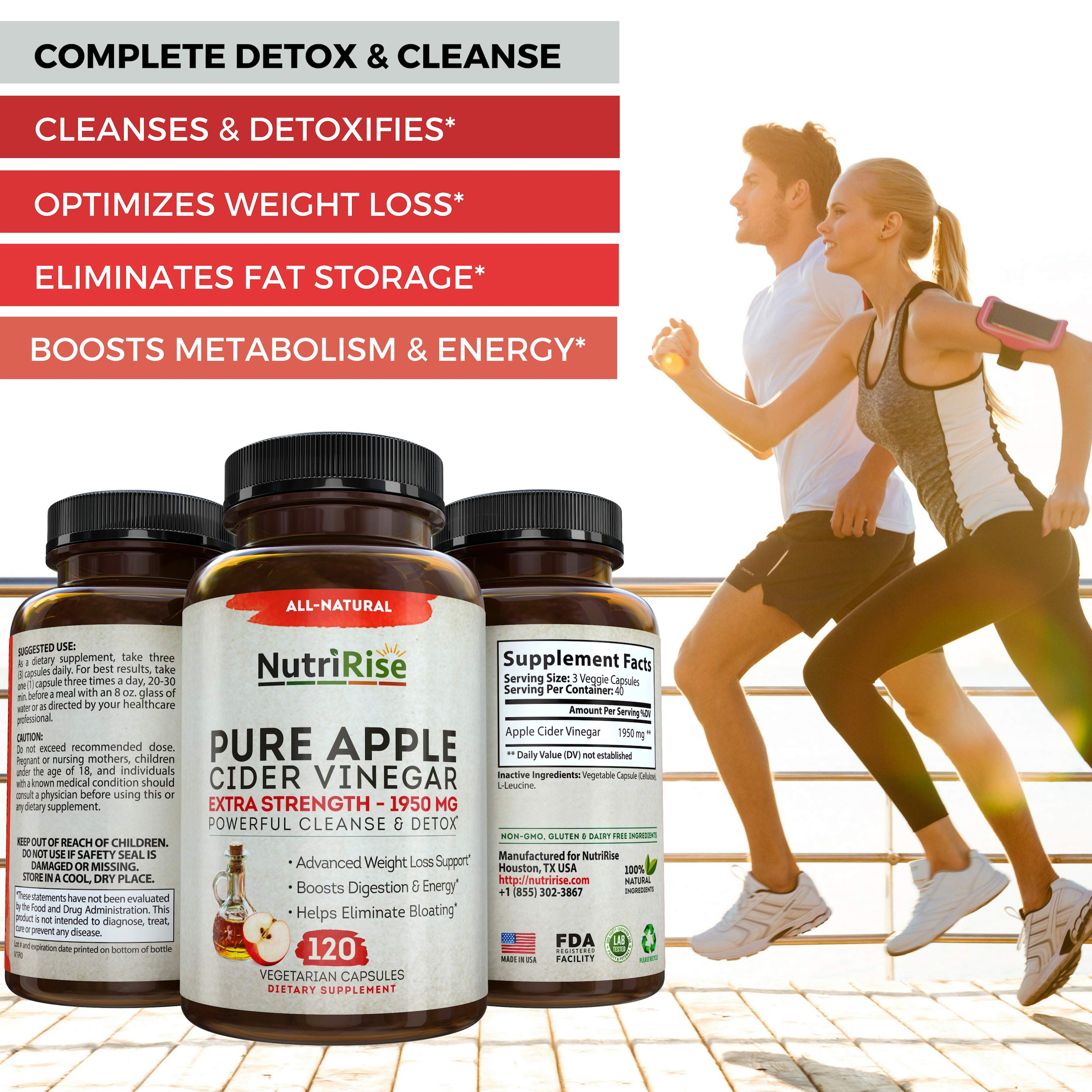 Apple Cider Vinegar Capsules for Weight Loss & Cleanse - 100% Pure Extra Strength 1950mg - 120 Natural Diet Pills for Women & Men for Bloating & Constipation Relief, Digestion & Energy Boost by NutriRise (Image #5)