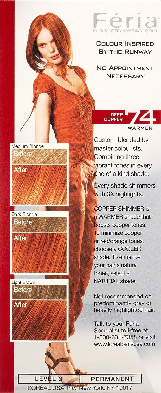 Loral Paris Feria Permanent Hair Color 74 Copper Shimmer Deep