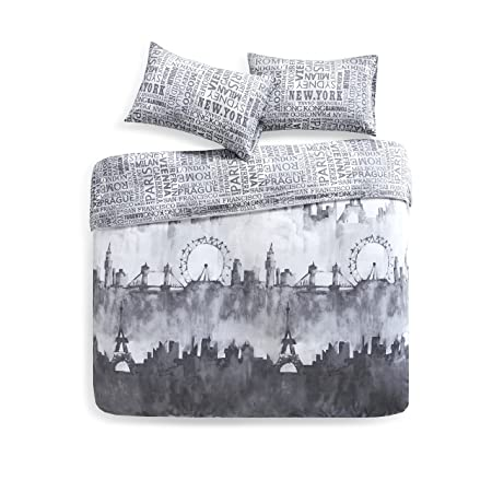 41f03b018f9 SCM City Scape Printed Duvet Cover and Pillowcase Set, 100% Breathable  Cotton, Trendy Quilt Bedding Set (King, Multi): Amazon.co.uk: Kitchen & Home
