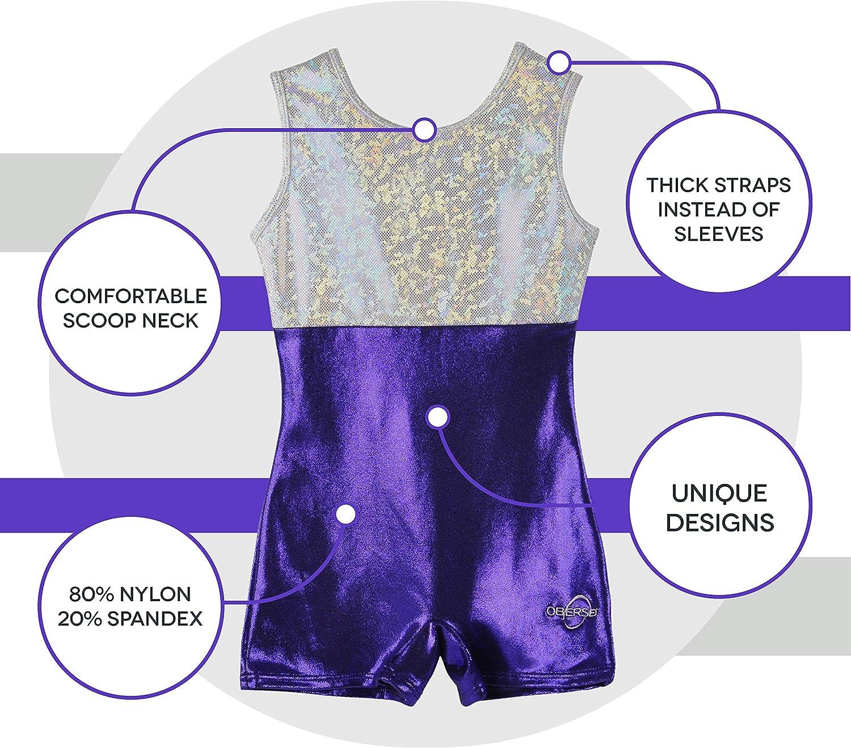 Obersee Girls O3GL005CL Gymnastics Leotard Purple//Silver Large