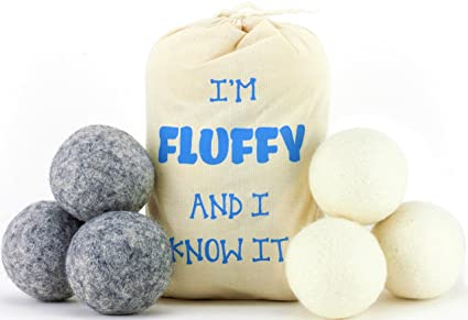 Wool Dryer Balls (6 Pack) Anti-Static Cling, Reduce Drying Time