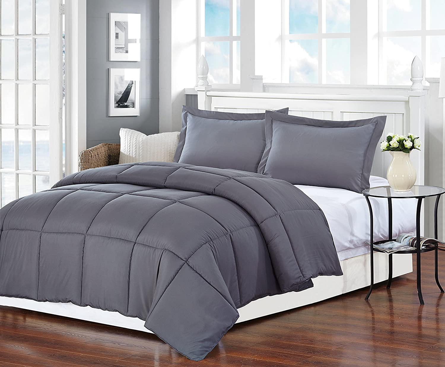 Gray Polyester Medium Warmth Twin Down Alternative Comforter Duvet