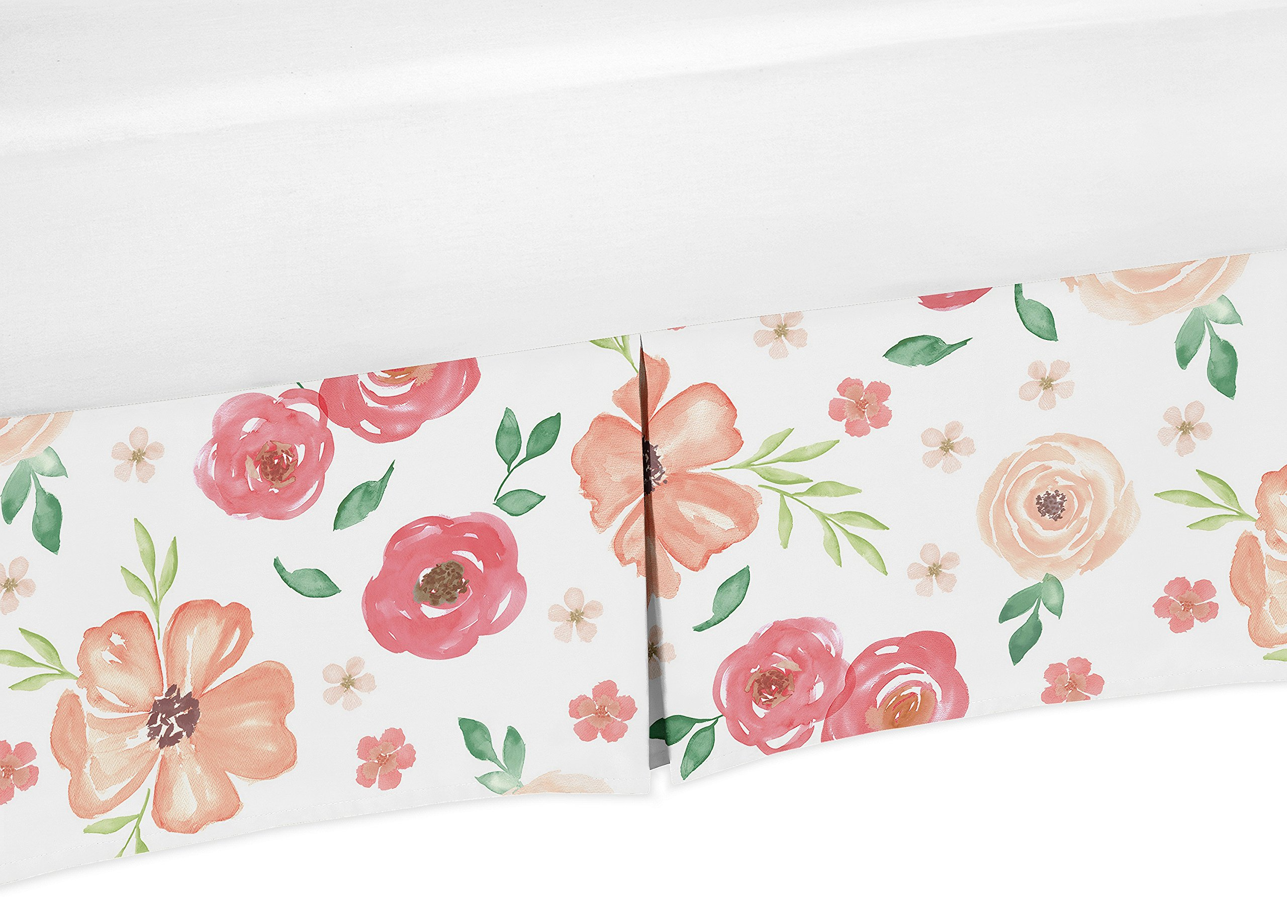 Sweet JoJo Designs Peach and Green Baby Girl Pleated Crib Bed Skirt Dust Ruffle for Watercolor Floral Collection - Pink Rose Flower
