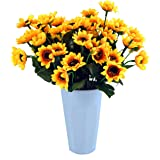 Sunflowers Silk Artificial Flowers Floral Decor Bouquet Small Head 10 Bunches,for Home Decor and Wedding Decorations