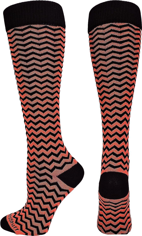 MadSportsStuff Chevron Athletic Over the Calf Socks (で使用可能な7色) B00TQ4LHJ4 Small|ブラック/スカーレット ブラック/スカーレット Small