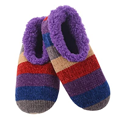 Snoozies Womens Slippers Striped Chenille | Striped Chenille Slippers for Women | Womens Slipper Socks | Fuzzy Slippers with Soft Soles | Multiple Sizes and Colors | Slippers